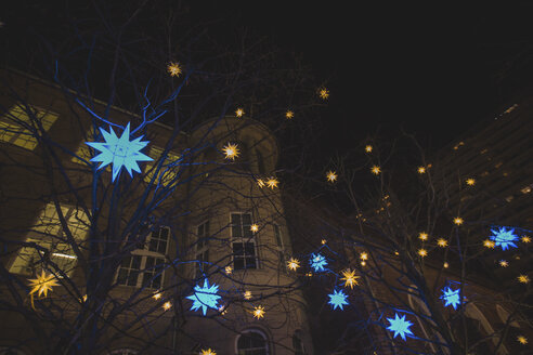 Germany, Berlin, Christmas decoration, Moravian stars hanging in trees - ASCF00765