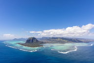 Mauritius, Southwest Coast, view to Indian Ocean, Le Morne with Le Morne Brabant, natural phenomenon, underwater waterfall, aerial view - FOF09718