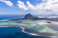 Mauritius, Southwest Coast, view to Indian Ocean, Le Morne with Le Morne Brabant, aerial view - FOF09721