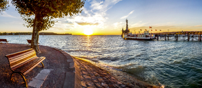 Germany, Baden-Wuerttemberg, Constance, Lake Constance, Impera at harbour entrance, sunrise - PUF01091