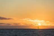 Mauritius, Le Morne, Indian Ocean, sail boarder at sunset - FOF09767