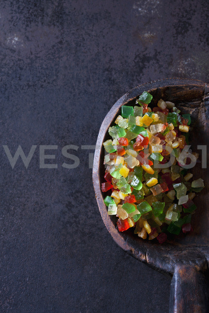 Diced candied fruits on wooden spoon - CSF28782