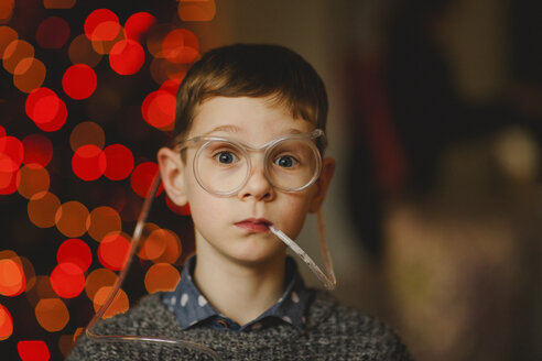 Portrait of boy wearing funny glasses with drinking straw - NMS00193