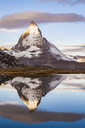 Switzerland, Valais, Zermatt, Matterhorn, Lake Riffelsee in the morning - WDF04335