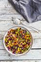 Quinoa salad with edamame, corn, carott, tomato, paprika, onions in a bowl - SARF03496