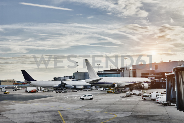 Airplanes and vehicles on the apron at sunset - RORF01062