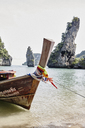 Thailand, Phang Nga Bay, moored long-tail boat - RORF01077