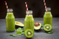 Green detox smoothie with avocado, kiwi and baby spinach - LVF06632