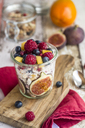 Glass of natural yogurt with granola and various fruits - SARF03508