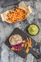 Pulled pork jackfruit burger, sweet potato fries and guacamole - SARF03518