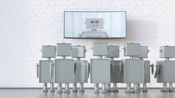 Group of robots in a room looking at screen with robot, 3d rendering - UWF01327