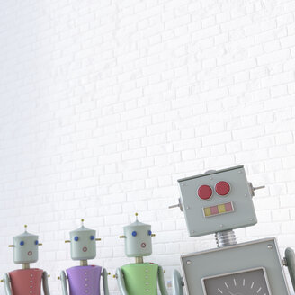 Female robots looking at male robot, 3d rendering - UWF01330