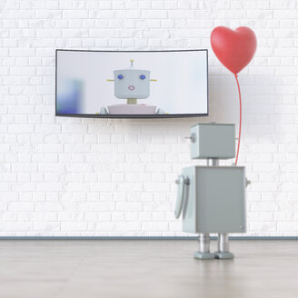 Robot with heart-shaped balloon looking at screen with robot, 3d rendering - UWF01333