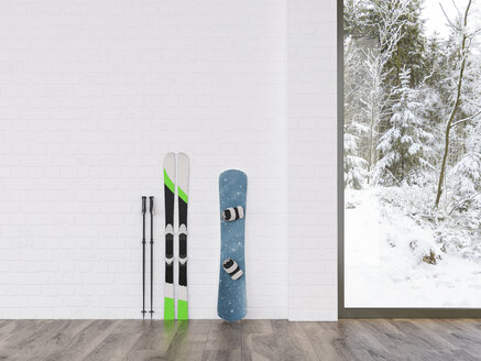 Skis and snowboard at a wall with view to winter landscape, 3d rendering - UWF01336