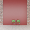 Two chairs in front of red wall, 3d rendering - UWF01339