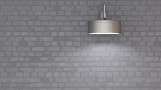 Grey wall lamp at brick wall, 3d rendering - UWF01348