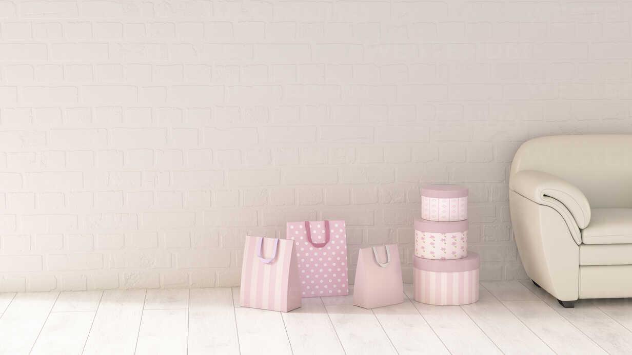 Shopping bags beside couch, 3d rendering - UWF01354 - HuberStarke/Westend61