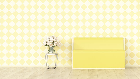 Yellow bench and bunch of flowers in front of checkered pattern wallpaper, 3d rendering - UWF01357