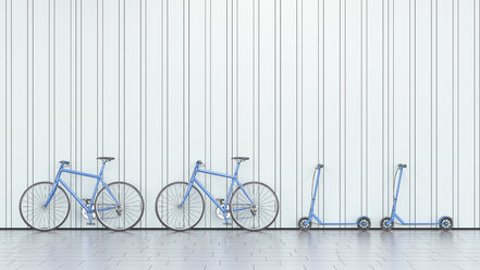 Bicycles and scooters leaning against a wall, 3d rendering - UWF01360
