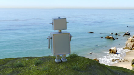 Robot at the coast looking at the sea, 3d rendering - UWF01363