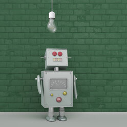 Robot under light bulb, 3d rendering - UWF01366
