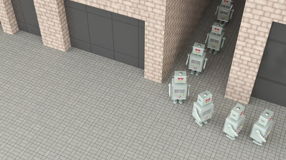 Group of robots walking through passageway in a row, 3d rendering - UWF01372