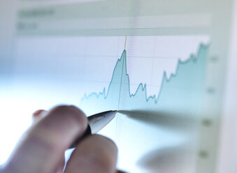 Hand of a stock broker analysing line graph on computer screen - ABRF00069