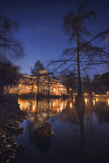 Spain, Madrid, Cristal Palace at night in El Retiro park - DHCF00180