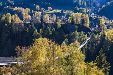 Switzerland, Valais, Goms Bridge, swing bridge between Fuergangen und Muehlebach - WDF04365