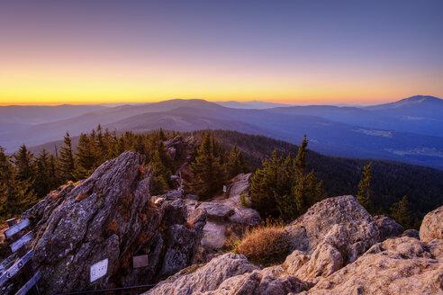 Germany, Bavaria, Upper Palatinate, Bohemian Forest, Border Czechia, Bavarian Forest, Grosser Osser near Lam in the morning - SIEF07697