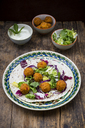 Falafel, wrap, salad, red and white cabbage, yogurt sauce with mint - LVF06654