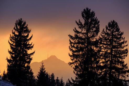Germany, Bavaria, Swabia, near Wertach, Gruenten, afterglow - LBF01747