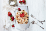 Belgian waffles with strawberries and powdered sugar - SBDF03445