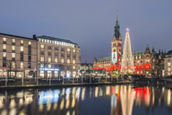 Germany, Hamburg, Little Alster, Christmas tree, town hall at World AIDS day - KEBF00724