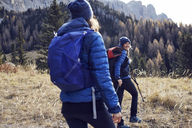 Two young women hiking in the mountains - PNEF00443