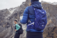 Two young women hiking in the mountains - PNEF00464