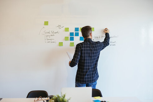 Businessman in office writing on whiteboard - EBSF02086