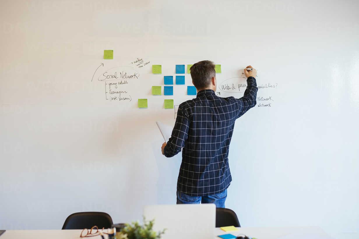 Businessman in office writing on whiteboard - EBSF02086 - Bonninstudio/Westend61