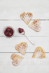 Homemade waffels with cherries with icing sugar, hearts - GWF05420