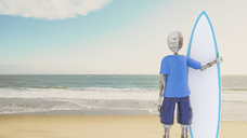 Robot holding surfboard on the beach, 3d rendering - AHUF00478