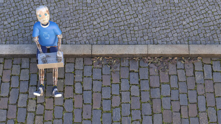 Robot sitting on curb using laptop, 3d rendering - AHUF00484