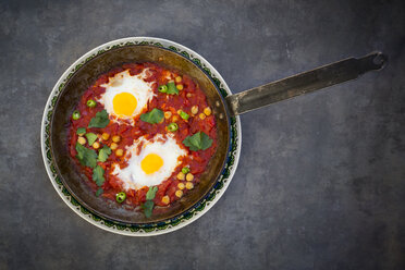 Shakshouka with chick peas in pan - LVF06666