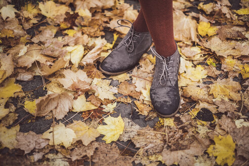 Woman wearing leather shoes, standing on autumn leaves, partial view - JSCF00045