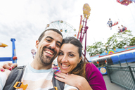 USA, New York, selfie of happy couple at Coney Island - WPEF00040