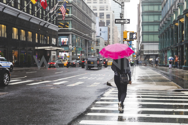USA, New York, woman in the city on a rainy day - WPEF00043 - William Perugini/Westend61