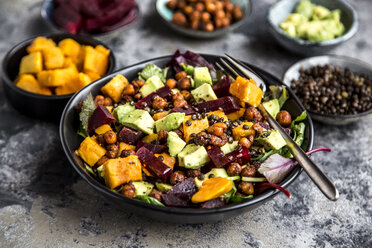 Superfood salad, avocado, beetroot, roasted chickpea, sweet potatoe, beluga lentil and blood orange - SARF03530