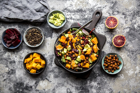 Superfood salad, avocado, beetroot, roasted chickpea, sweet potatoe, beluga lentil and blood orange - SARF03533