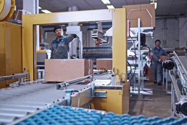 Men at work at conveyor belt in factory - CVF00128