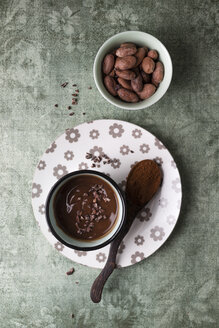 Cup of chocolate pudding with cacao, cacao nibs and cocoa beans - MYF02003