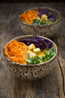 Turmeric curry dish with carrot, tofu, red cabbage and parsley in bowl - LVF06671